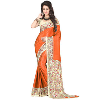 DesiButiks  Orange Crepe Saree with Blouse  VSM3414