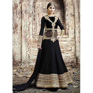 Thankar Black  Beige Embroidered Georgette Anarkali Suit