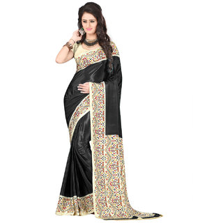 DesiButiks  Black Crepe Saree with Blouse  VSM3420