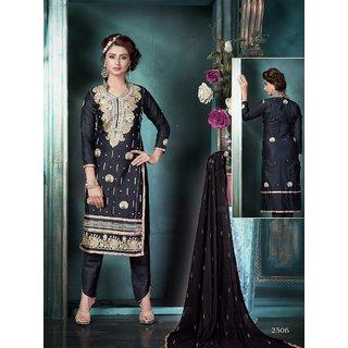 Trendz Apparels Black Glace Cotton Straight Fit Salwar Suit