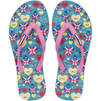 Fashion Forward LONDON Womens Printed EVA Green-Pink Flip Flops 6 UK