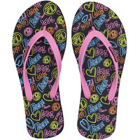 Fashion Forward LOVE Womens Printed EVA Black-Pink Flip Flops 6 UK