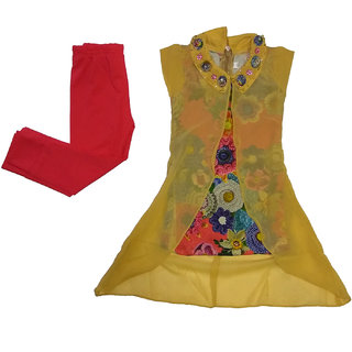 Girls Dress Top and Leggings set by Arshia Fashions - sleeveless - Party wear