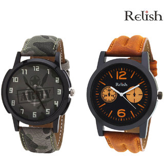 Relish Analog Round Casual Wear Watches Combo For Men