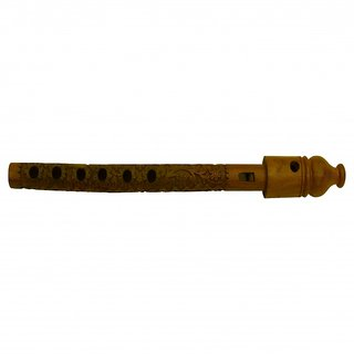 Beautiful Hand Carved Wooden Flute / Traditional Wooden Flute Bansuri (Side)