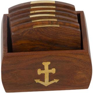 Set of 6 Hand Carved Wooden Bar Coasters  Holder  Fine Polished Anchor Embedded
