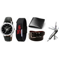 Combo of Elgent Graphic 1228 Watch , Black Led Watch ,Black Belt ,Black Wallet And Swiss knife