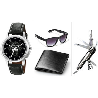 Combo of Elgent Graphic 1228 Watch , Black Wallet ,Swiss knife And Glass
