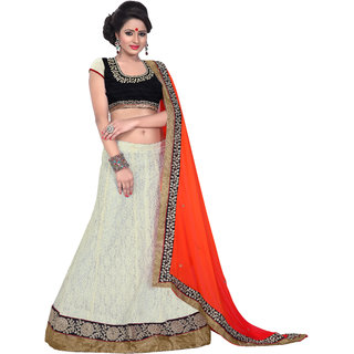 Aaina White Net Embrodried Bridal Lehenga (AN1025)