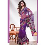 Queenly Navy Blue Net Corn Flower Embroidery Saree
