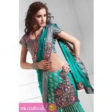 Sky Embroidery Work Dashing Ready To Lehenga Saree