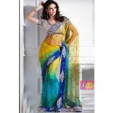Fashionable Yellow And Blue Net Saree With Lace Border