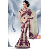 Cream And Violet Velvets Cut Flowers One Minute Saree