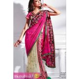 Pink And Cream Flowery Stickers One Minute Saree