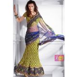 Mahendi And Blue Crust Lehenga Saree With Fancy Lace