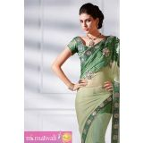 Green Complimented One Minute Saree With Fresh Grow