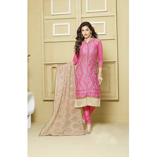 Thankar Pink  Cream Embroidered Chanderi Straight Suit