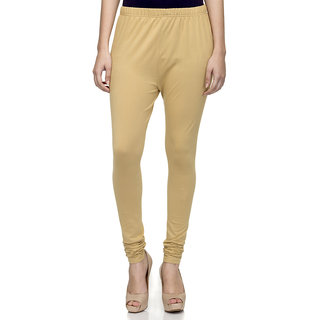 Laabha Womens Dark Beige Cotton Strechable Churidaar Legging