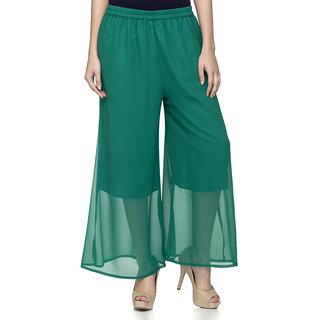 Laabha Womens Sea Green Flaired Plazzo