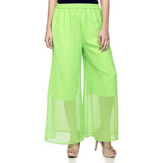 Laabha Womens Green Flaired Plazzo