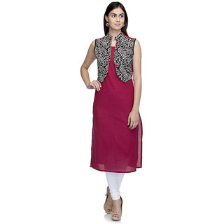 Laabha Womens Cotton Maroon Attached Printed Jacket Straight Kurti