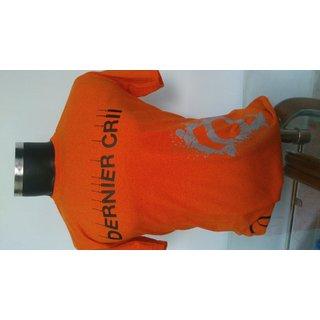 Dernier Crii Cotton Round Neck Printed T-Shirts Orange