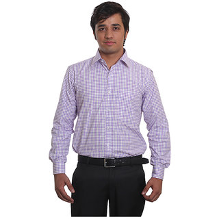 Solemio Purple Office Wear Formal Check Shirt 3. MPR