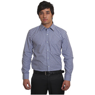 Solemio Purple Office Wear Formal Check Shirt 2.DPR