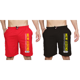 Demokrazy Red Black Cotton Blend Printed Sports Shorts For Mens (Pack Of 2)