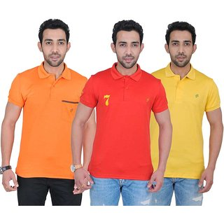 Fabnavitas Polo Neck Slim Fit Polo T-shirt Pack of 3
