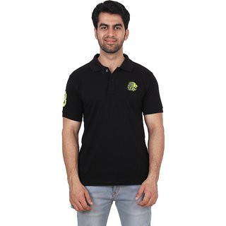 Fashcom Mens Black Green Half Sleeves Polo T-Shirt