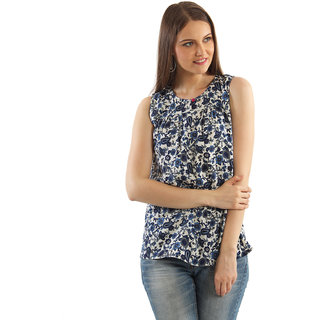 Good Fashion Casual Sleeveless Printed Womens white and blue Top