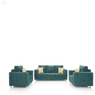 Earthwood -  Fully Fabric Upholstered Sofa Set 3+1+1 - Premium Valencia Teal