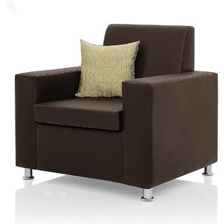 Earthwood -  Fully Leatherite Upholstered Single-Seater Sofa - Classic Florence Brown