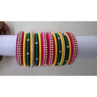 3 colours silk thread bangles
