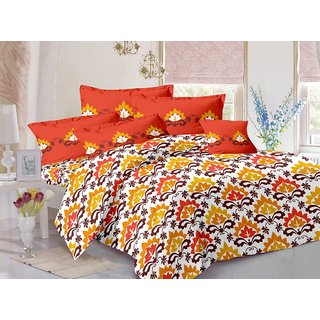 Valtellina Brown  Traditional Design Herbal Cotton Double Bedsheet with 2 CONTRAST Pillow Cover-Best TC-175