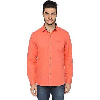 Mens Solid Casual Orange Shirt
