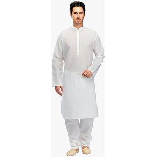Royal Mens White Super fine Linen Cotton Kurta Pyjama Set