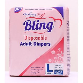Bling  Adult Diaper Size-Large Unisex  Pack of 10 Pieces