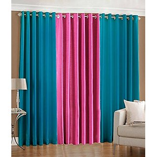P Home Decor Polyester Window Curtains (Set of 3) 5 Feet x 4 Feet, 2 Aqua 1 Pink