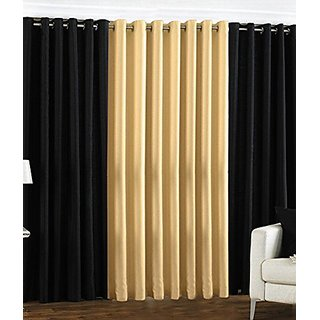 P Home Decor Polyester Door Curtains (Set of 3) 7 Feet x 4 Feet, 2 Black 1 Fawn