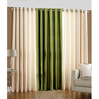 P Home Decor Polyester Door Curtains (Set of 3) 7 Feet x 4 Feet, 2 Cream 1 Green