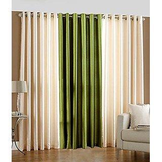 P Home Decor Polyester Door Curtains (Set of 3) 7 Feet x 4 Feet, 2 Cream 1 Green