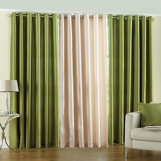 P Home Decor Polyester Long Door Curtains (Set of 3) 9 Feet x 4 Feet, 2 Green 1 Cream