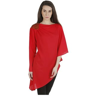 Red moss crepe asymmetric tunic with leather shoulder embroidery