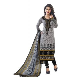 Shree Ganesh Pranjul Cotton Grey Printed Unstitched Churidar Suit Dress Material