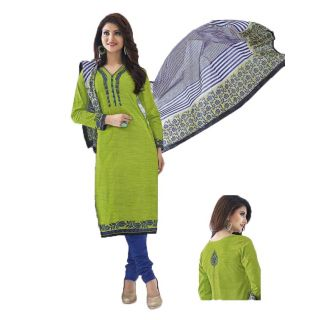 Shree Ganesh Pranjul Cotton Green Printed Unstitched Churidar Suit Dress Material