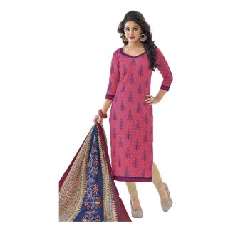 Shree Ganesh Pranjul Cotton Pink Printed Unstitched Churidar Suit Dress Material
