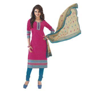 Shree Ganesh Pranjul Cotton Pink Printed Unstitched Churidar Suit Material
