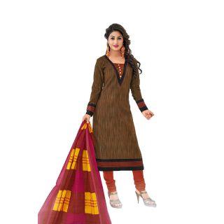 Shree Ganesh Pranjul Cotton Brown Plain Unstitched Patiala Suit Dress Material